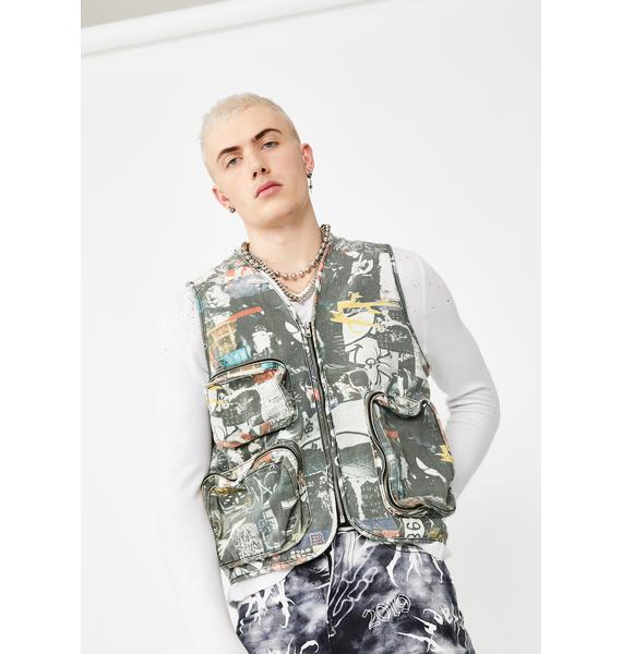 Jaded London Collage Print Denim Utility Vest