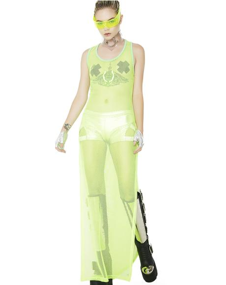 Lime Rocker Mesh Maxi Dress