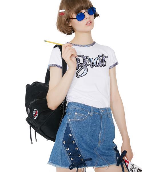 Saturday School Denim Mini Skirt