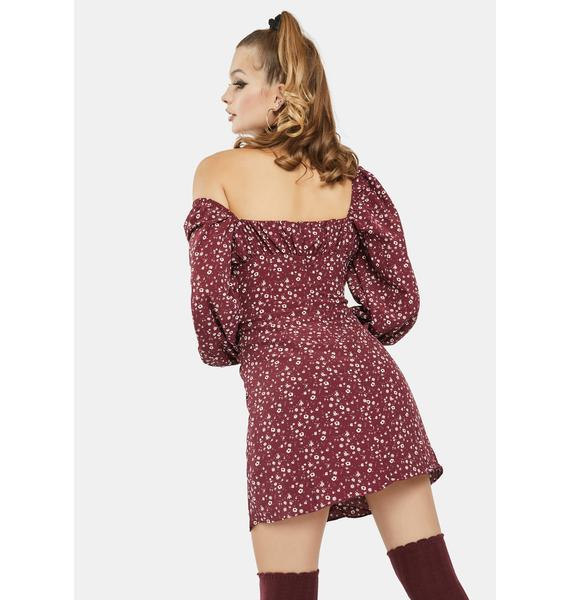 Glamorous Maroon Floral Puff Sleeve Dress