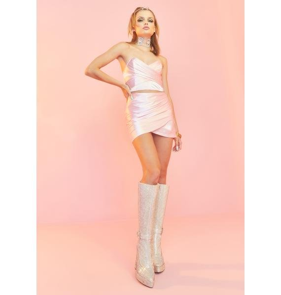 Sugar Thrillz Shining Spotlight Satin Skirt