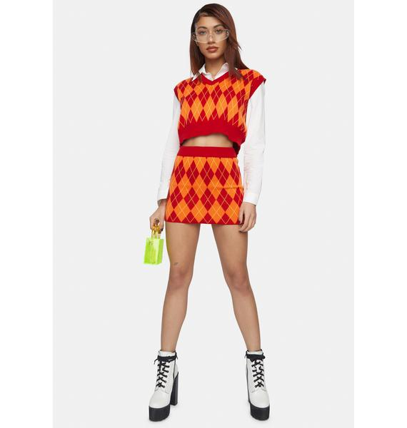 Nii HAi Sun Argyle Mini Skirt