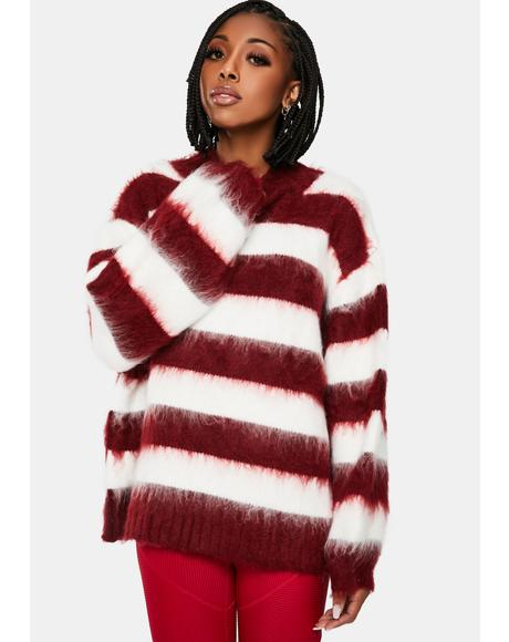 Cold Front Fuzzy Striped Sweater