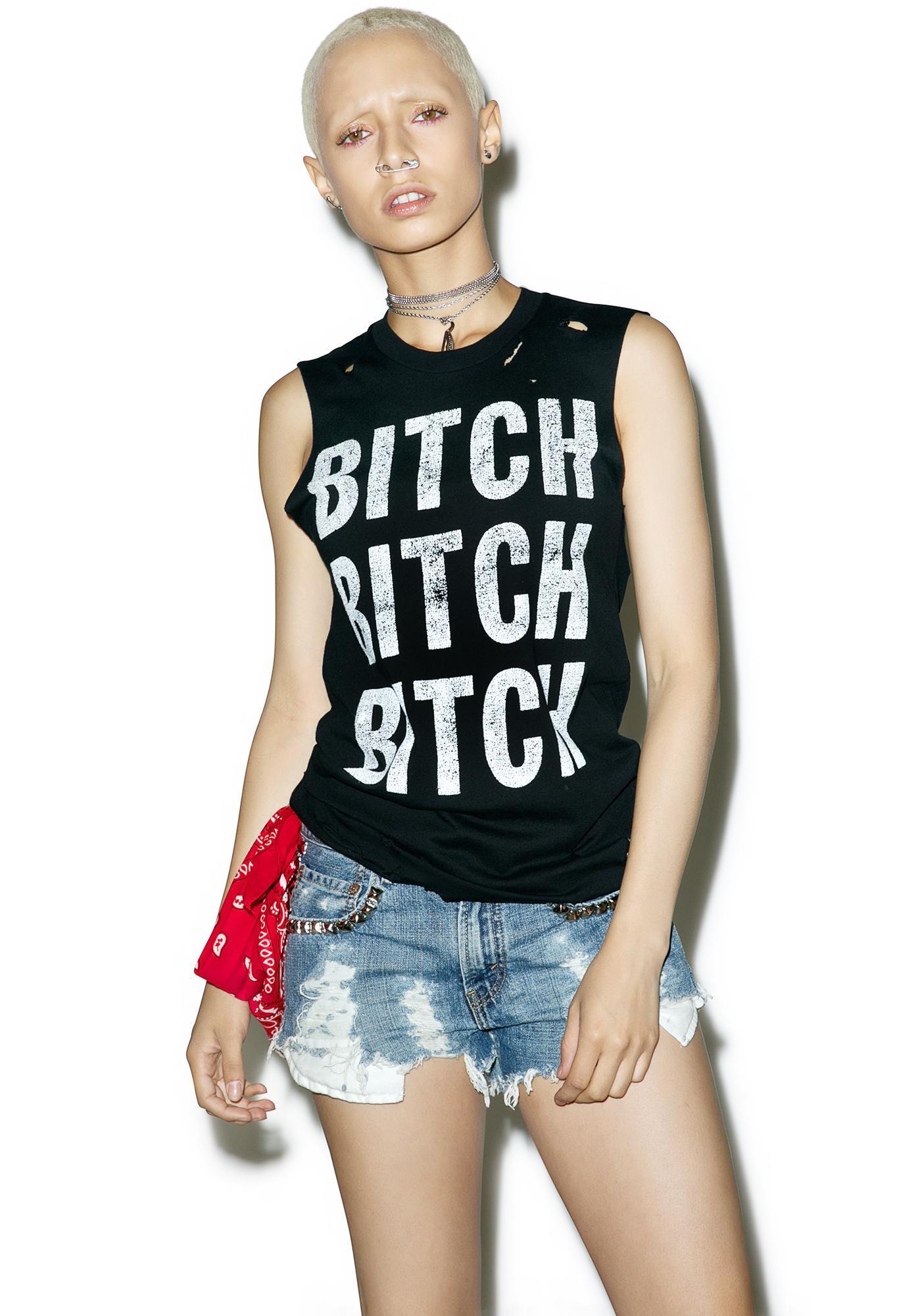 Hazmat Design Bitch Bitch Bitch Cutoff Boyfriend Tee