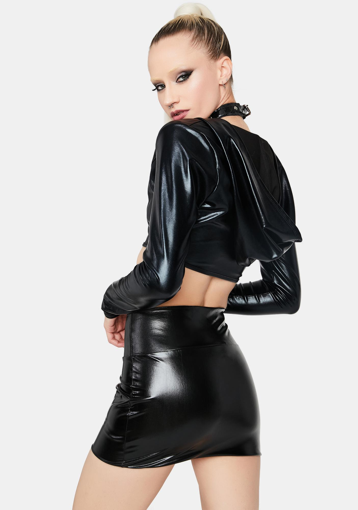 Barely Buzzed Faux Leather Mini Skirt