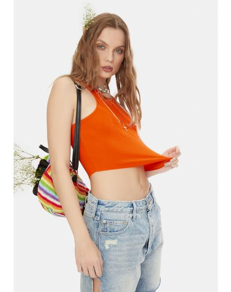 Orange High Neck Ribbed Crop Top