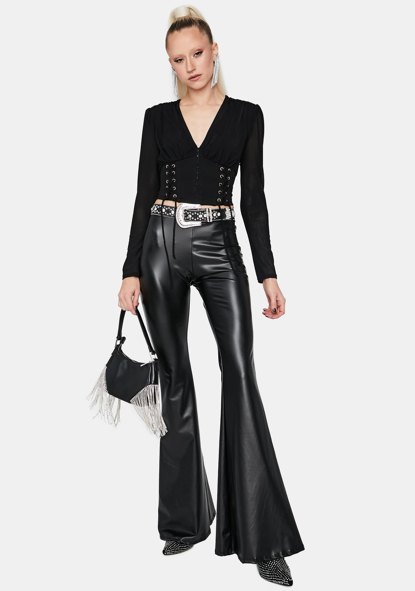Hold Up Faux Leather Flare Pants