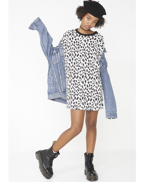 Snow Leopard T-Shirt Dress