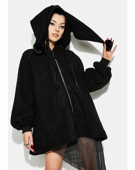Pom Pom Hooded Zip-Up Teddy Coat