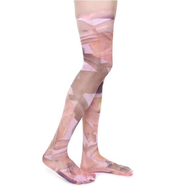 Coveted Society Broken Dolls Sheer Knee High Socks