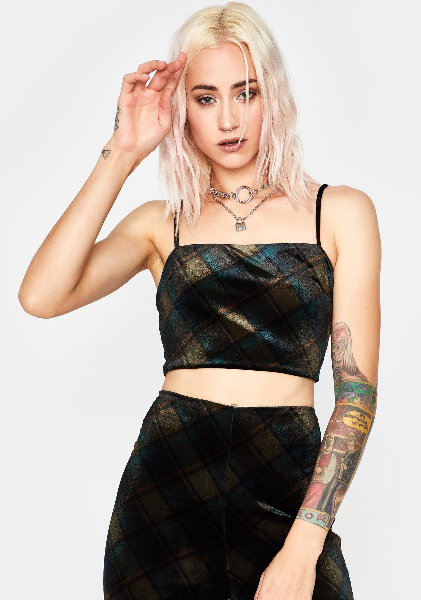 Rotten Rebel Plaid Crop Top
