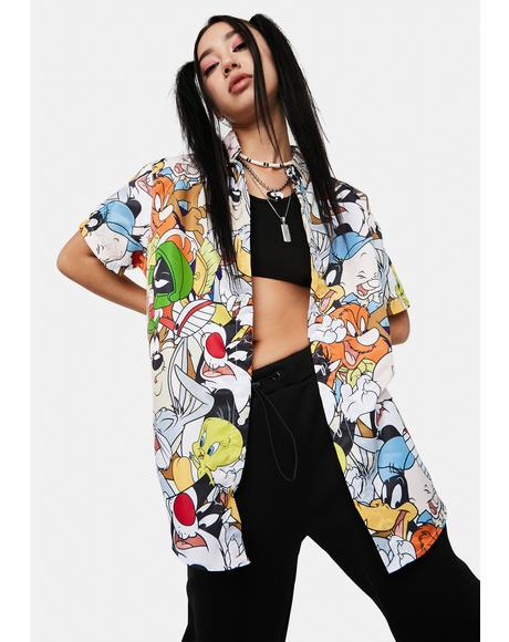 x Looney Tunes Pattern Button Up Shirt