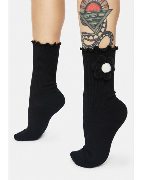 Dark Power Of The Petal Plush Flower Crew Socks
