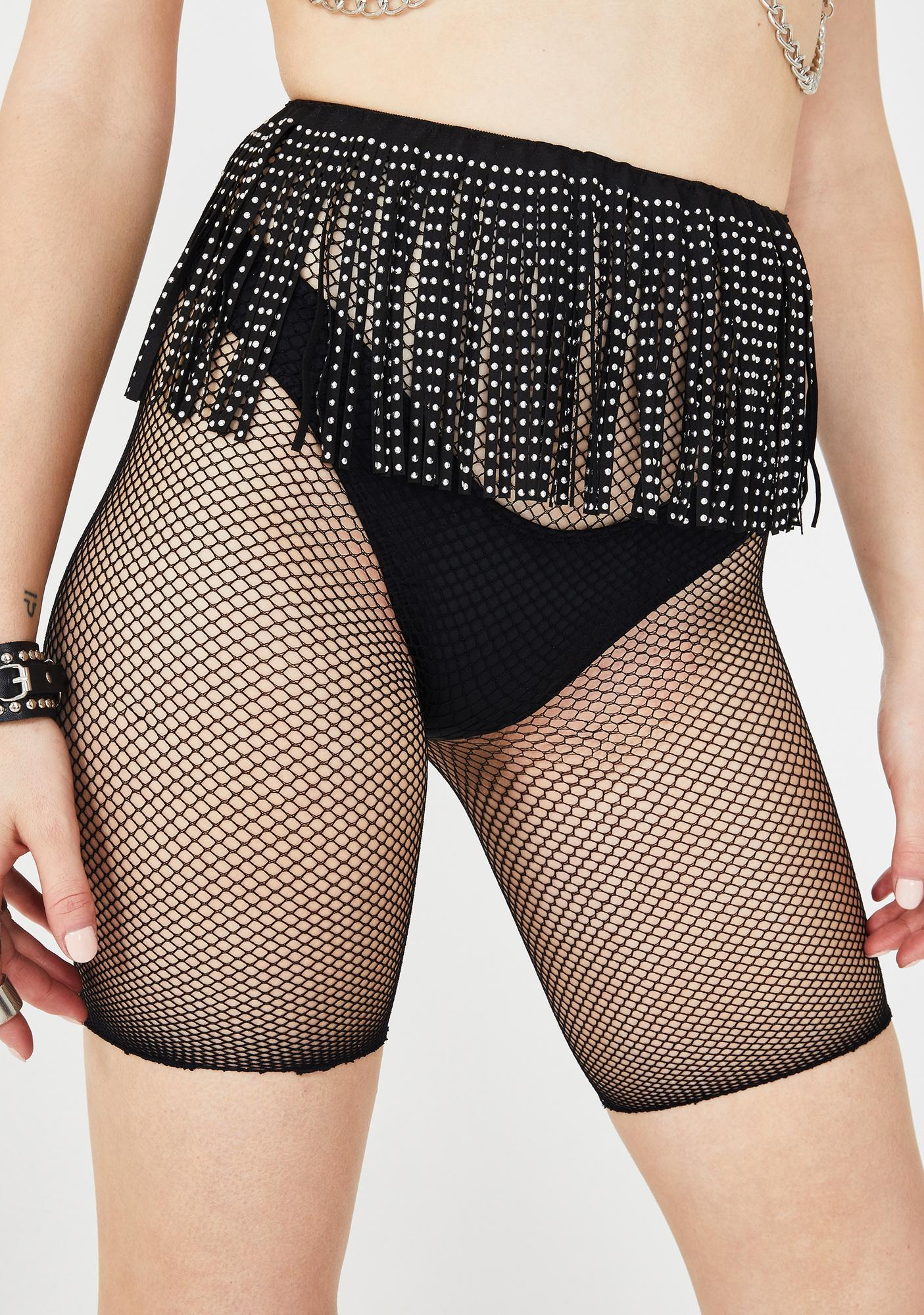 On The Fringe Fishnet Biker Shorts