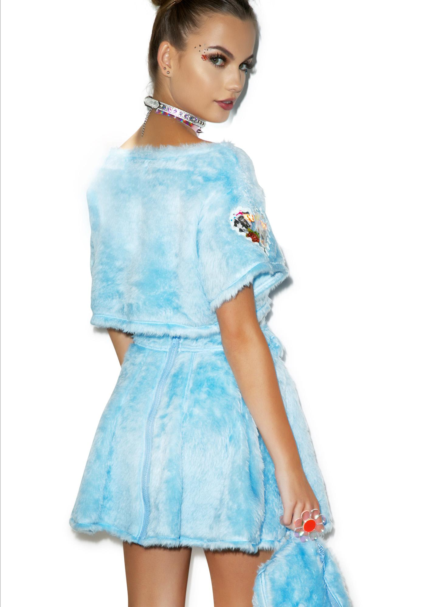 Indyanna Pastel Spice Baby Faux Fur Skirt With Fanny Pack