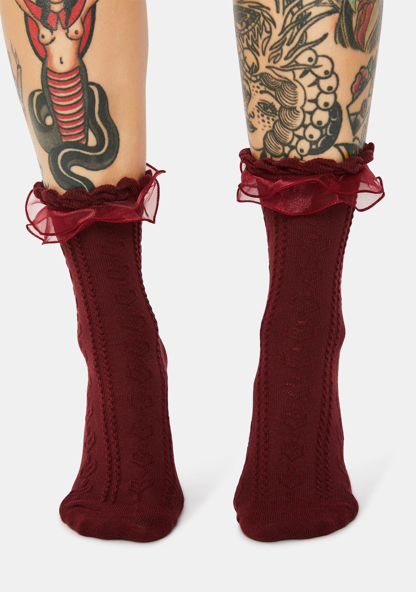 With Passion Pointelle Crew Socks
