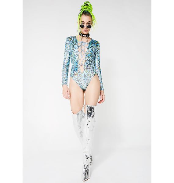 J Valentine Leopard Lace-Up Bodysuit