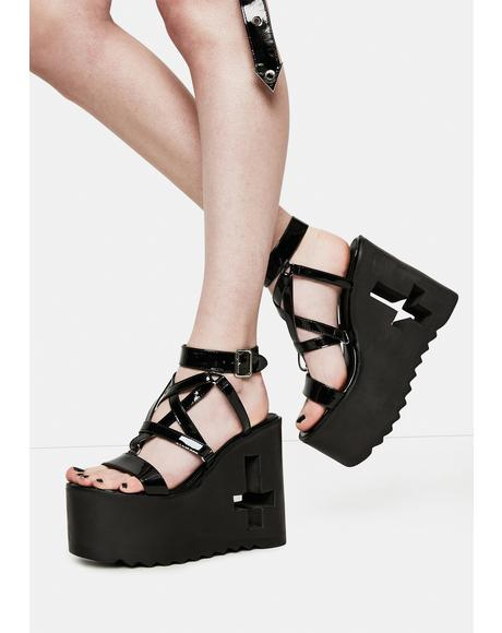 Evil Awaits Pentagram Platform Sandals
