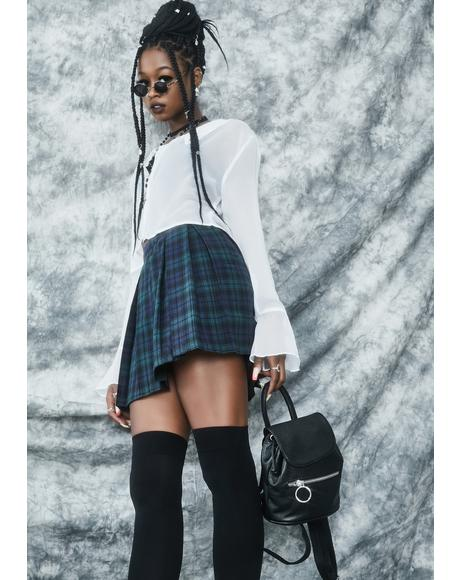 High School Hexes Plaid Pleated Skirt