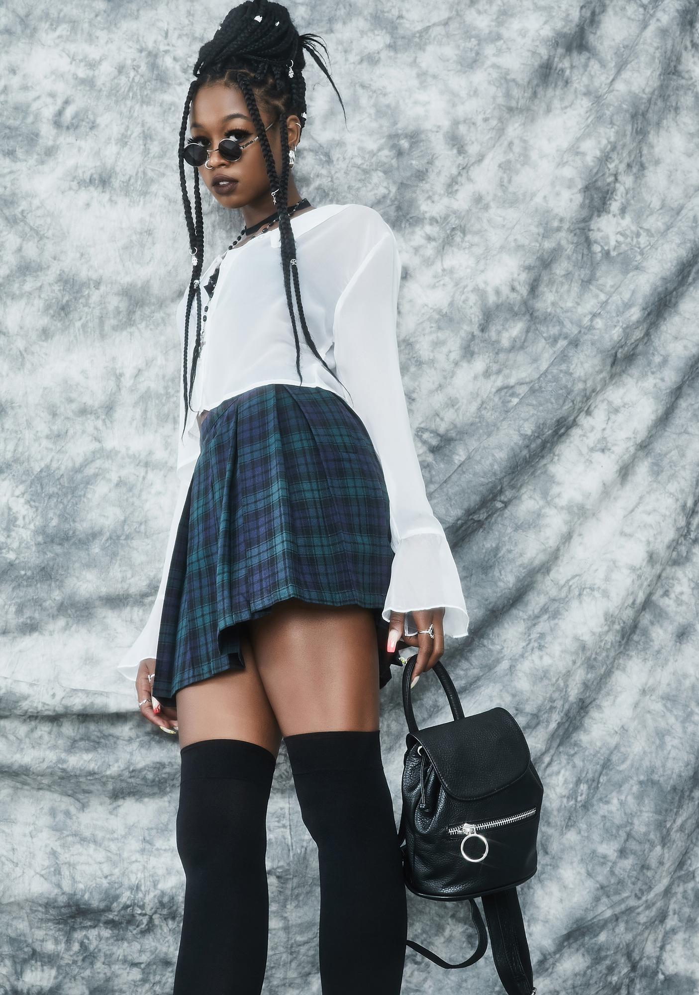 dELiA*s by Dolls Kill High School Hexes Plaid Pleated Skirt