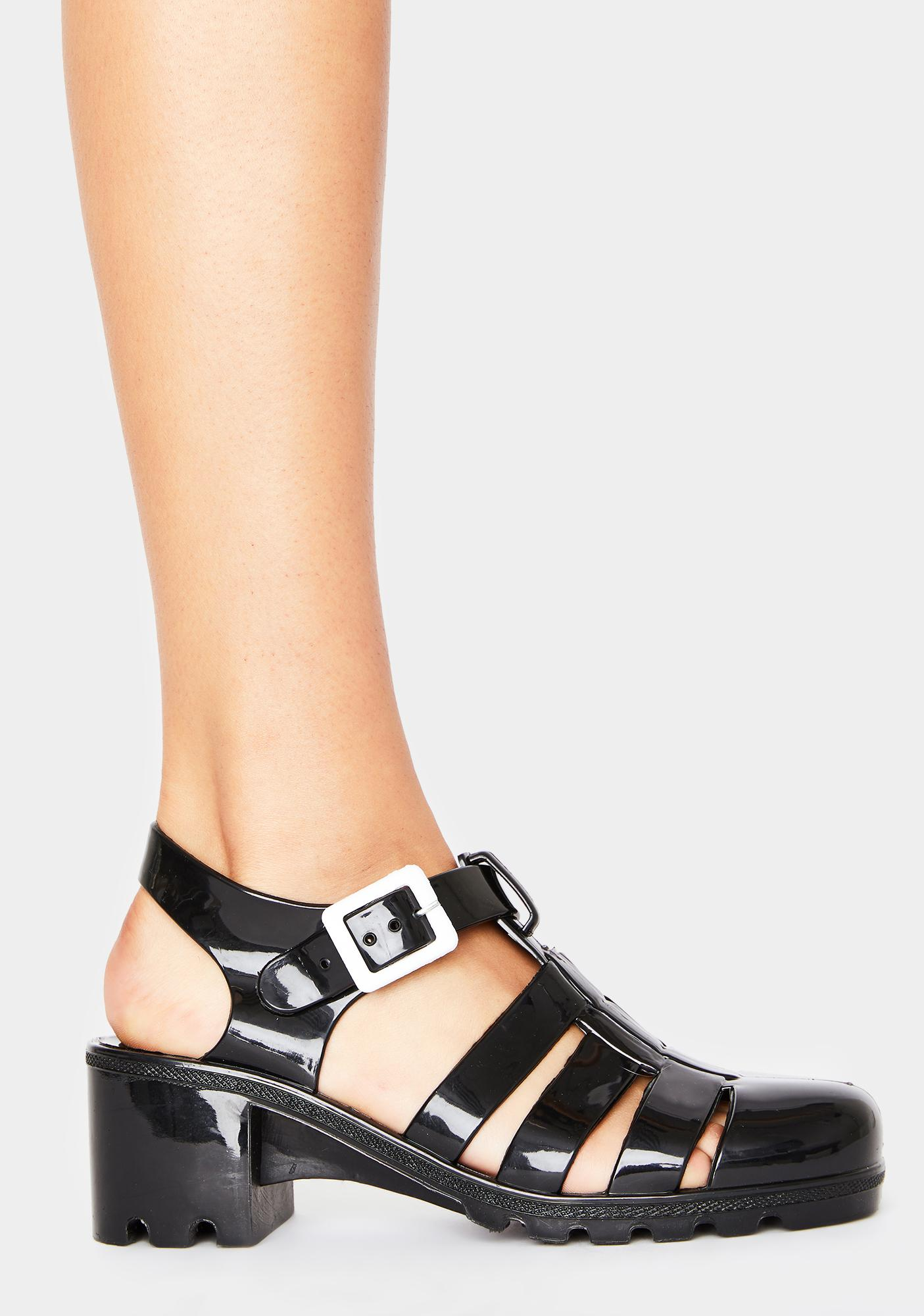 Dark Feel This Moment Jelly Sandals