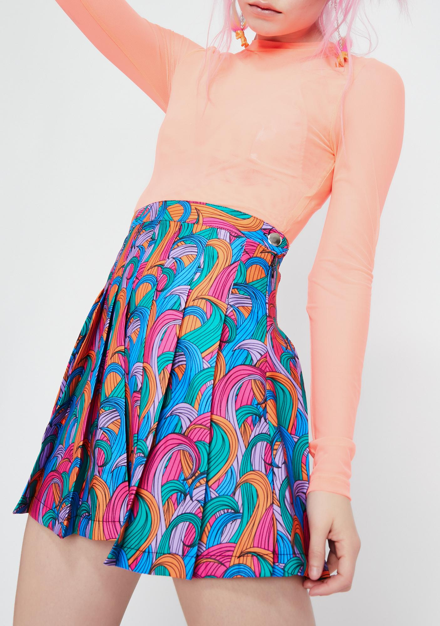 Good Luck Trolls x Dolls Kill Troll Rainbow Swirl Skirt