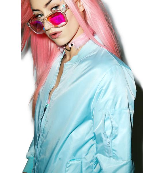 Petals and Peacocks Baby Blue MA-1 Bomber Jacket