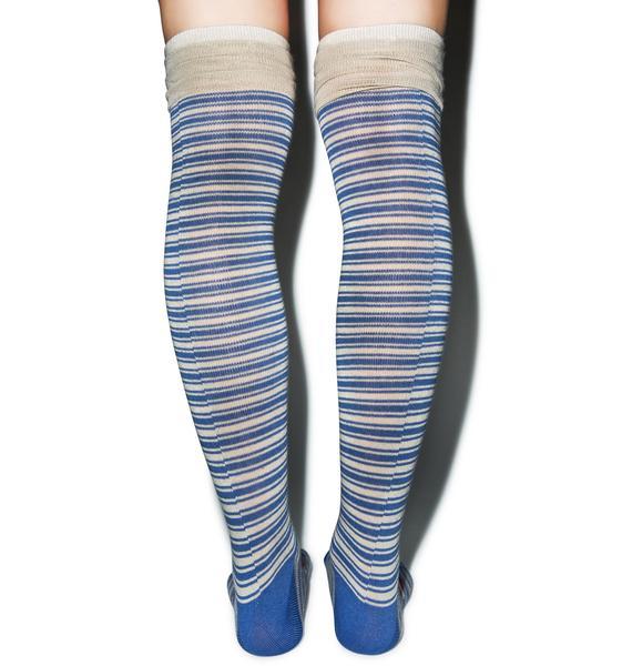 Preppy Pinstripe Knee High Socks