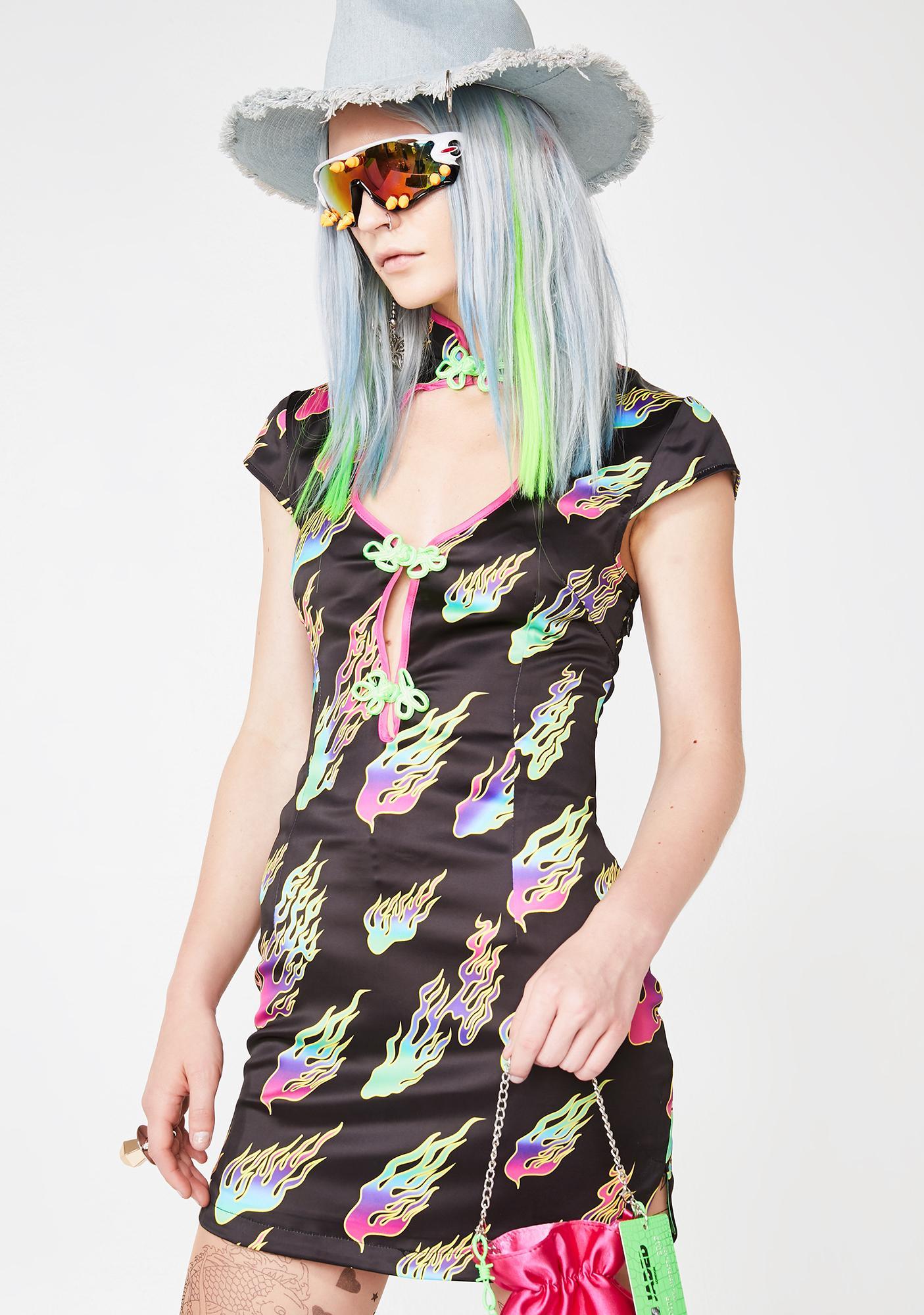 Jaded London Rainbow Flame Print Cut Out High Neck Mini Dress