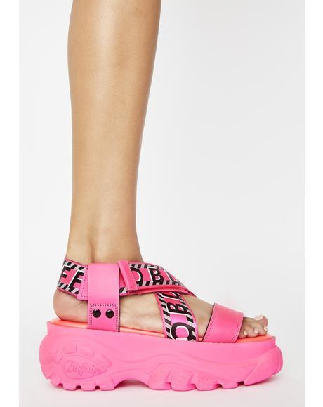 Neon Pink Bo Platform Sandals