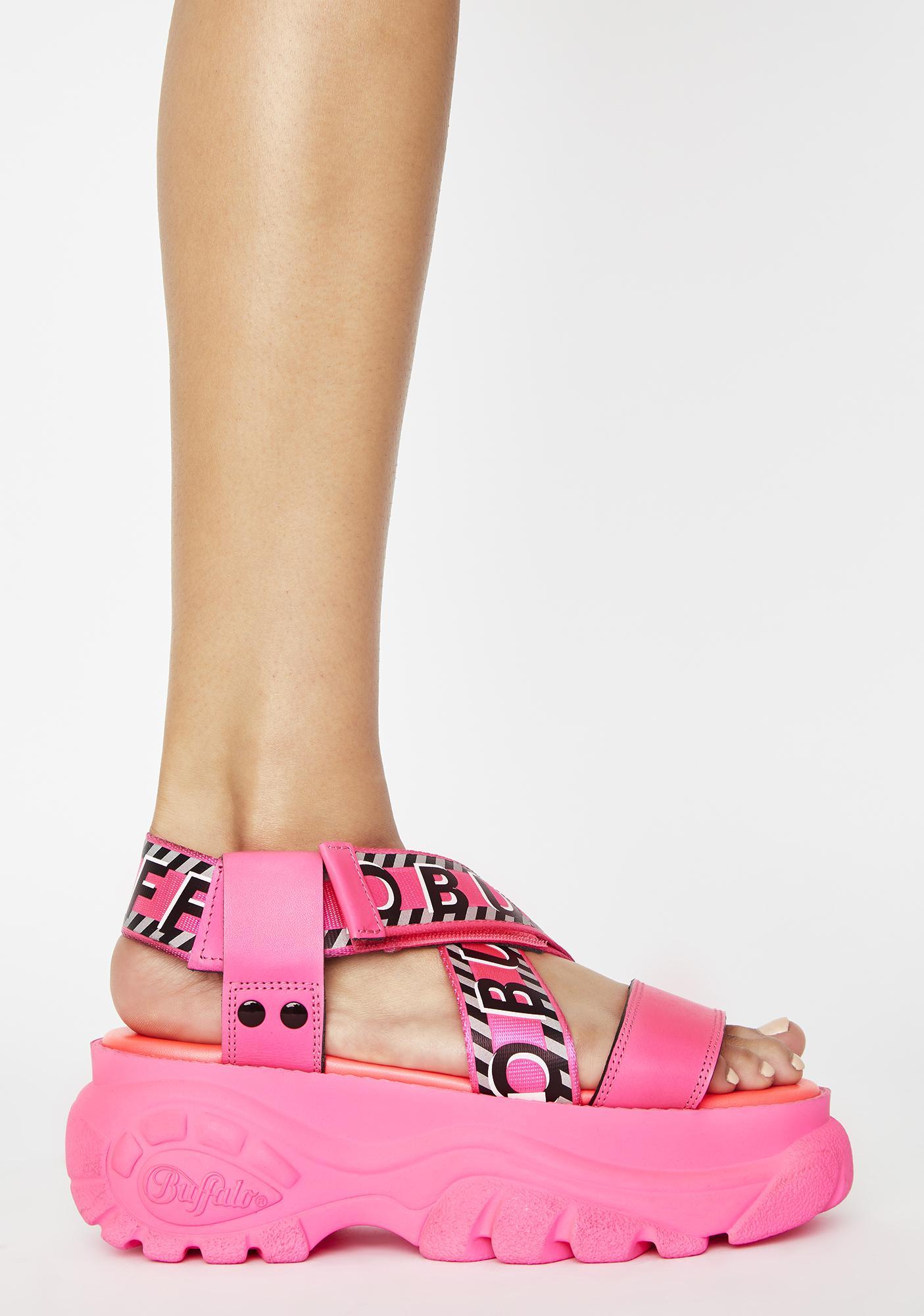 Buffalo London Neon Pink Bo Platform Sandals