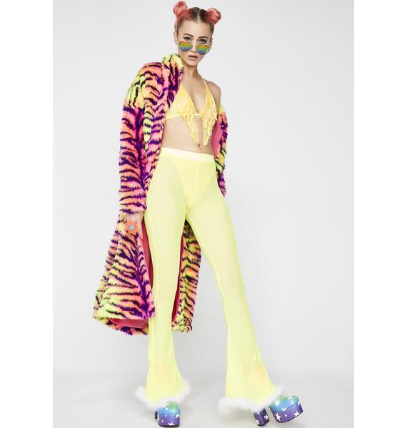 Babydol Clothing Yellow Sheer Flares And Lycra Hot Pants