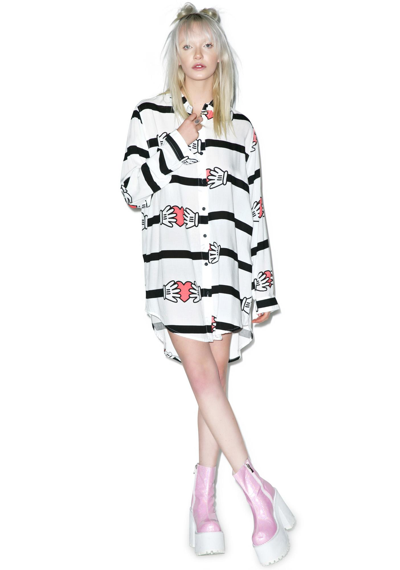 Lazy Oaf Hands On Heart Stripe Shirt