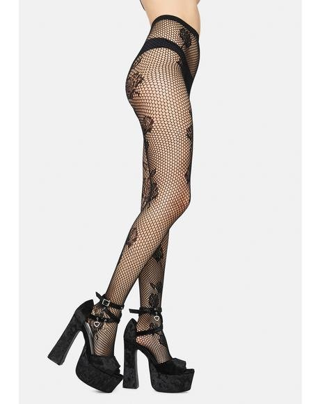 Roses Lover Fishnet Tights