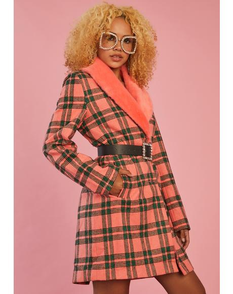 Antique Angel Plaid Peacoat