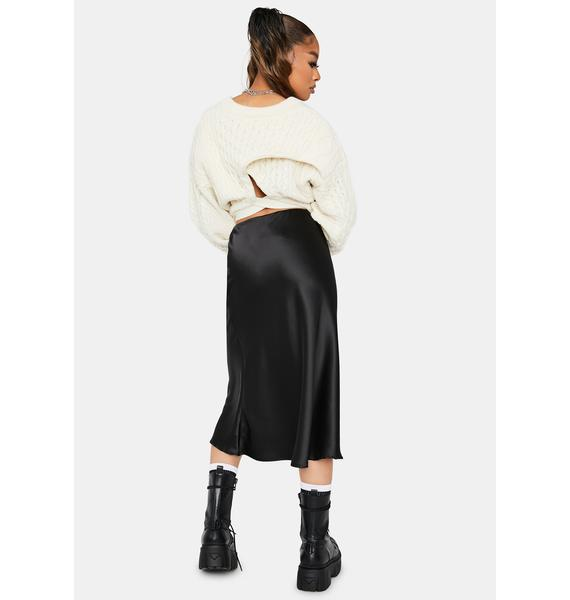 Rock The Boat Satin Midi Skirt