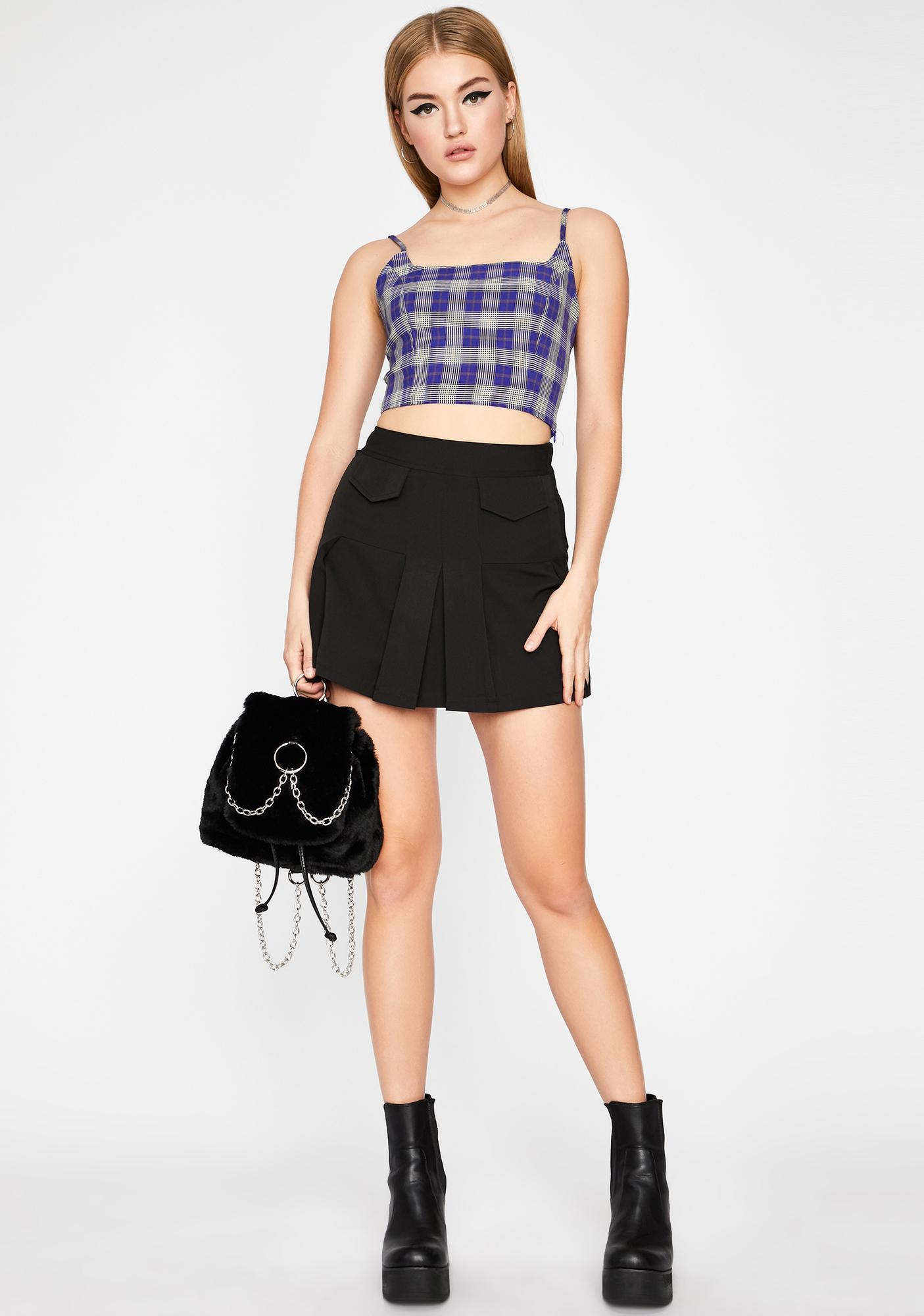 Chill Get A Clue Plaid Top