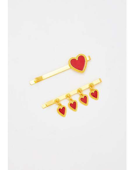 Kween Of Hearts Hair Pin Set