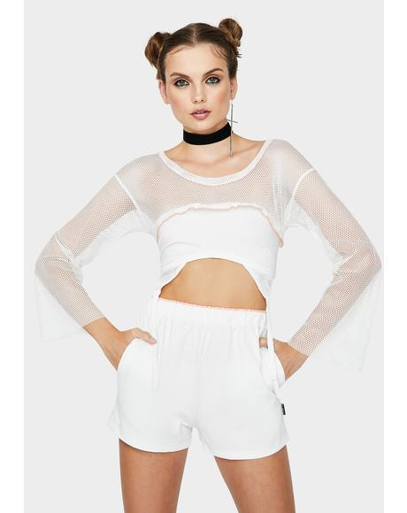 White Heaven Lounge Shorts Set
