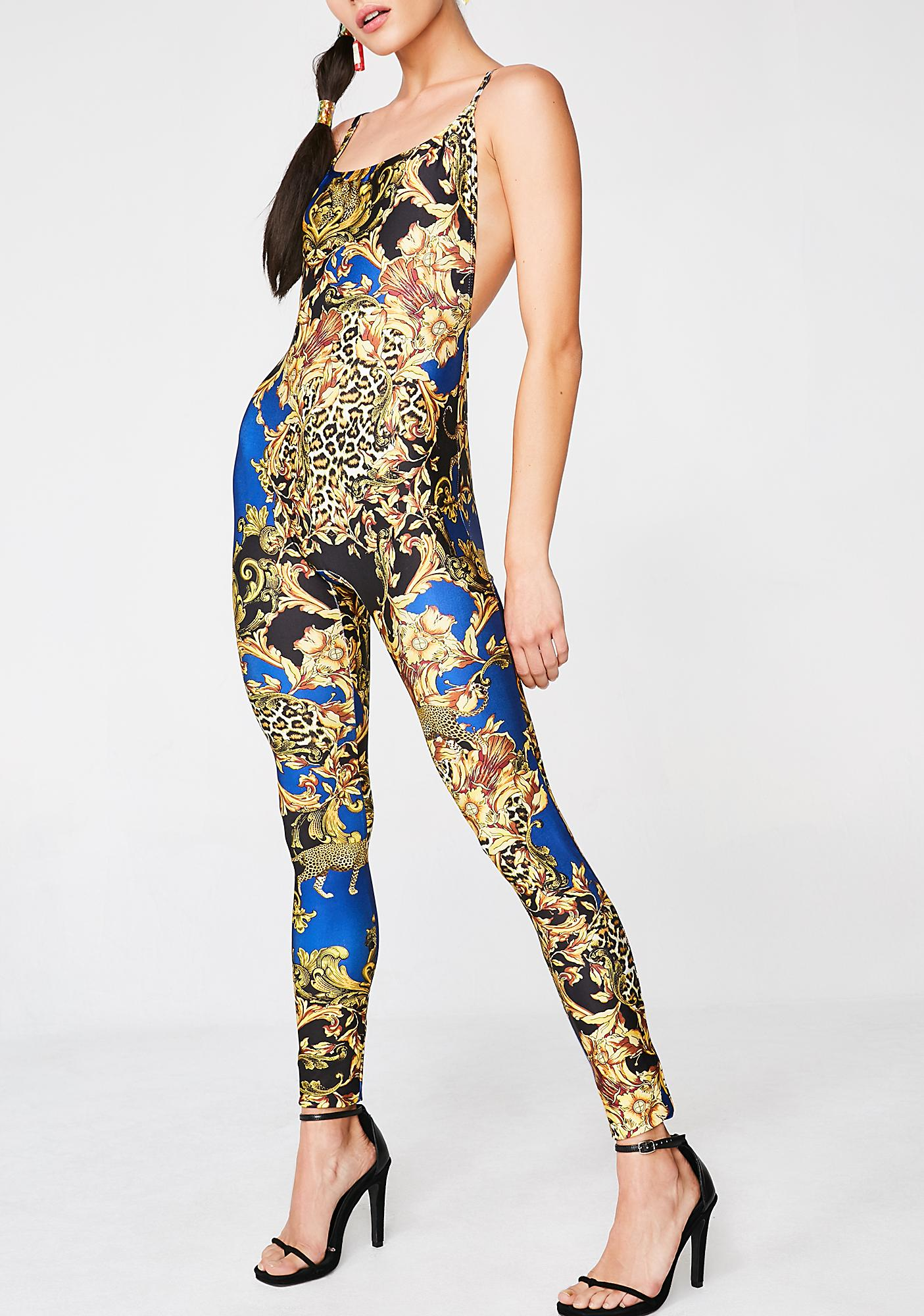Jaded London Square Neck Chain Printed Catsuit