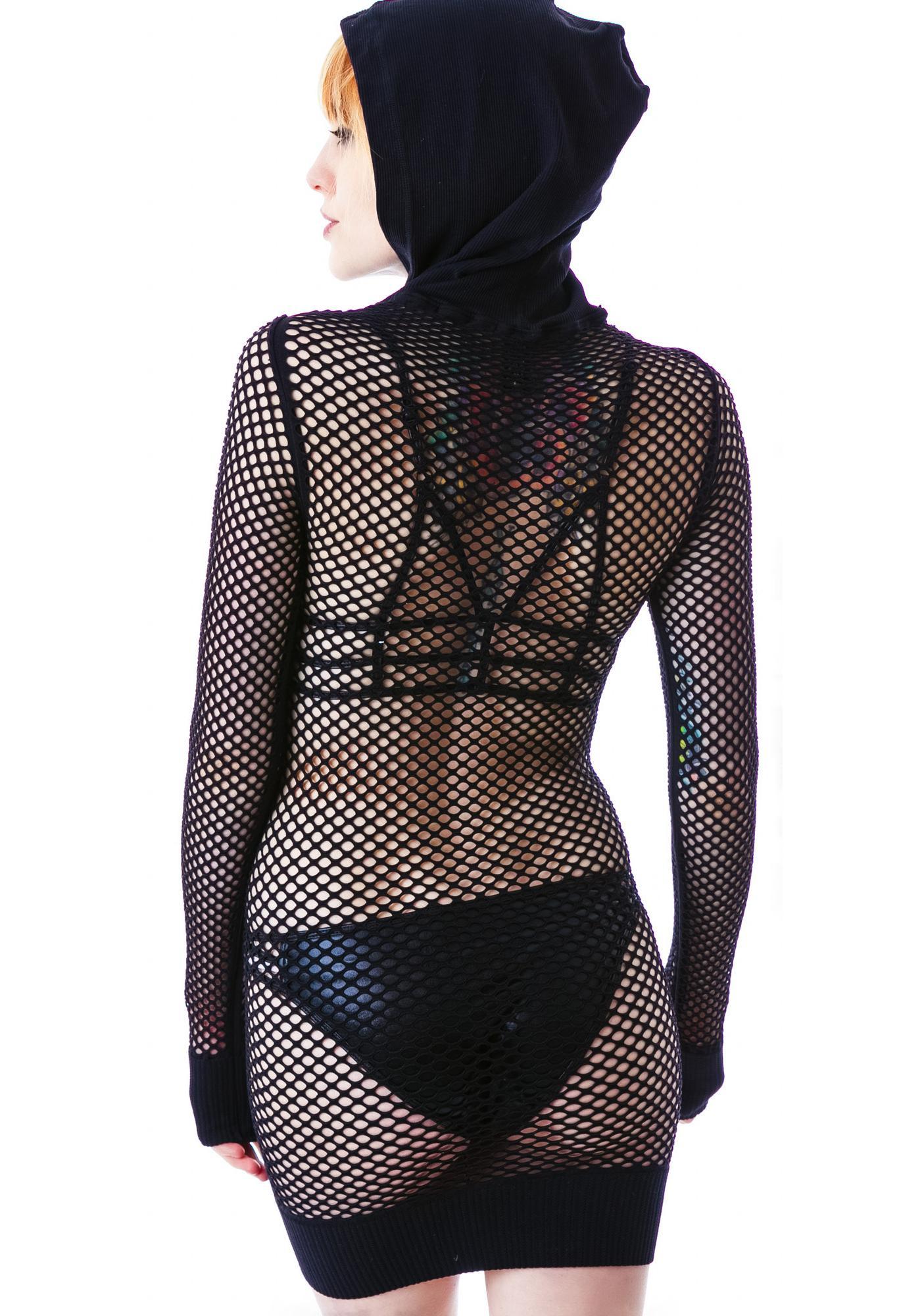 Paxton Net Hooded Dress