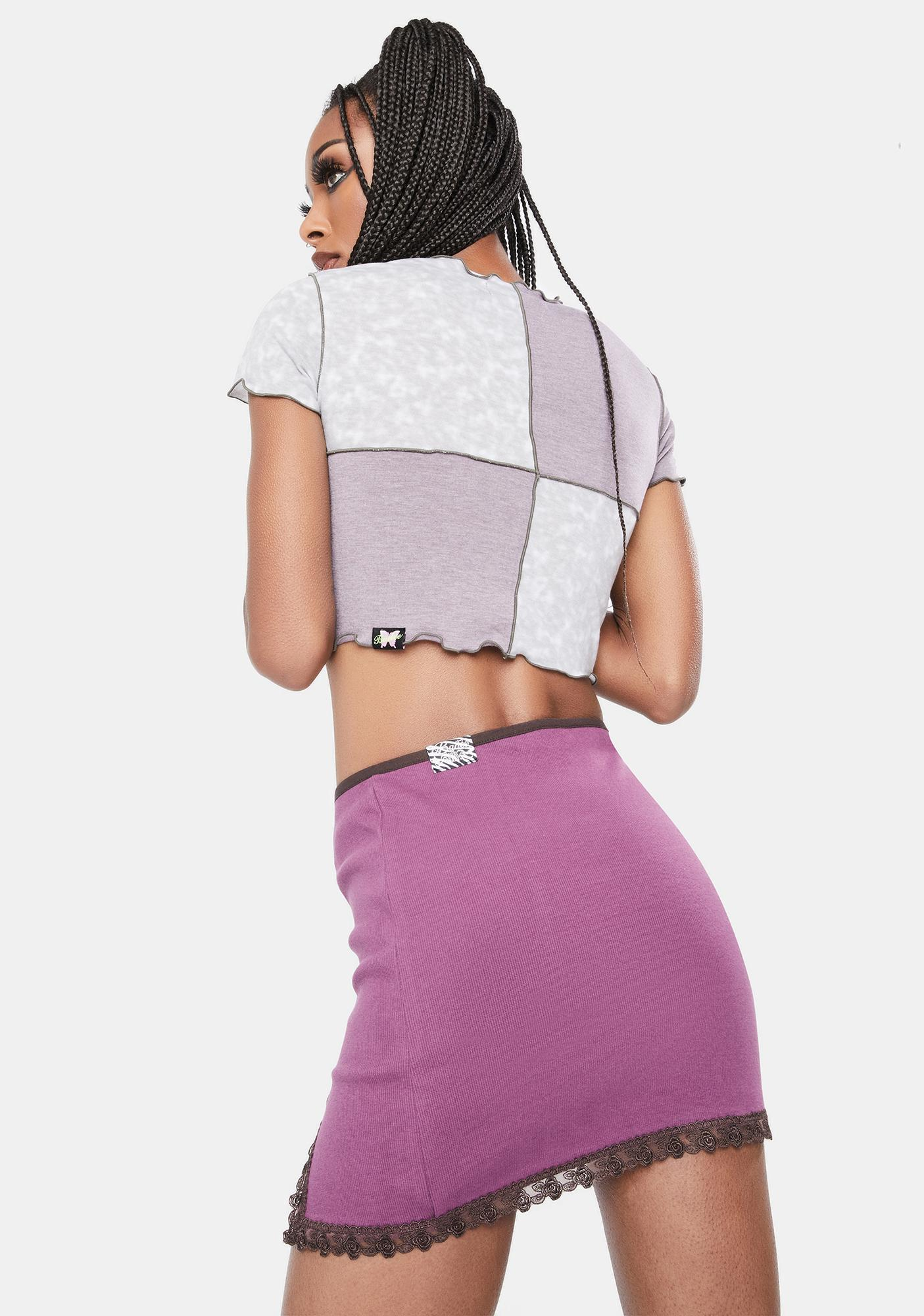 BADEE Purple Lace Trim Mini Skirt