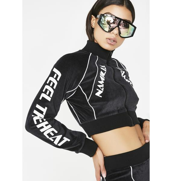 Namilia Dark Velour Motocross Crop Jacket