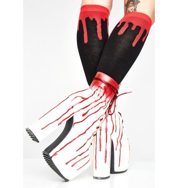 Drippy Blood Knee High Socks