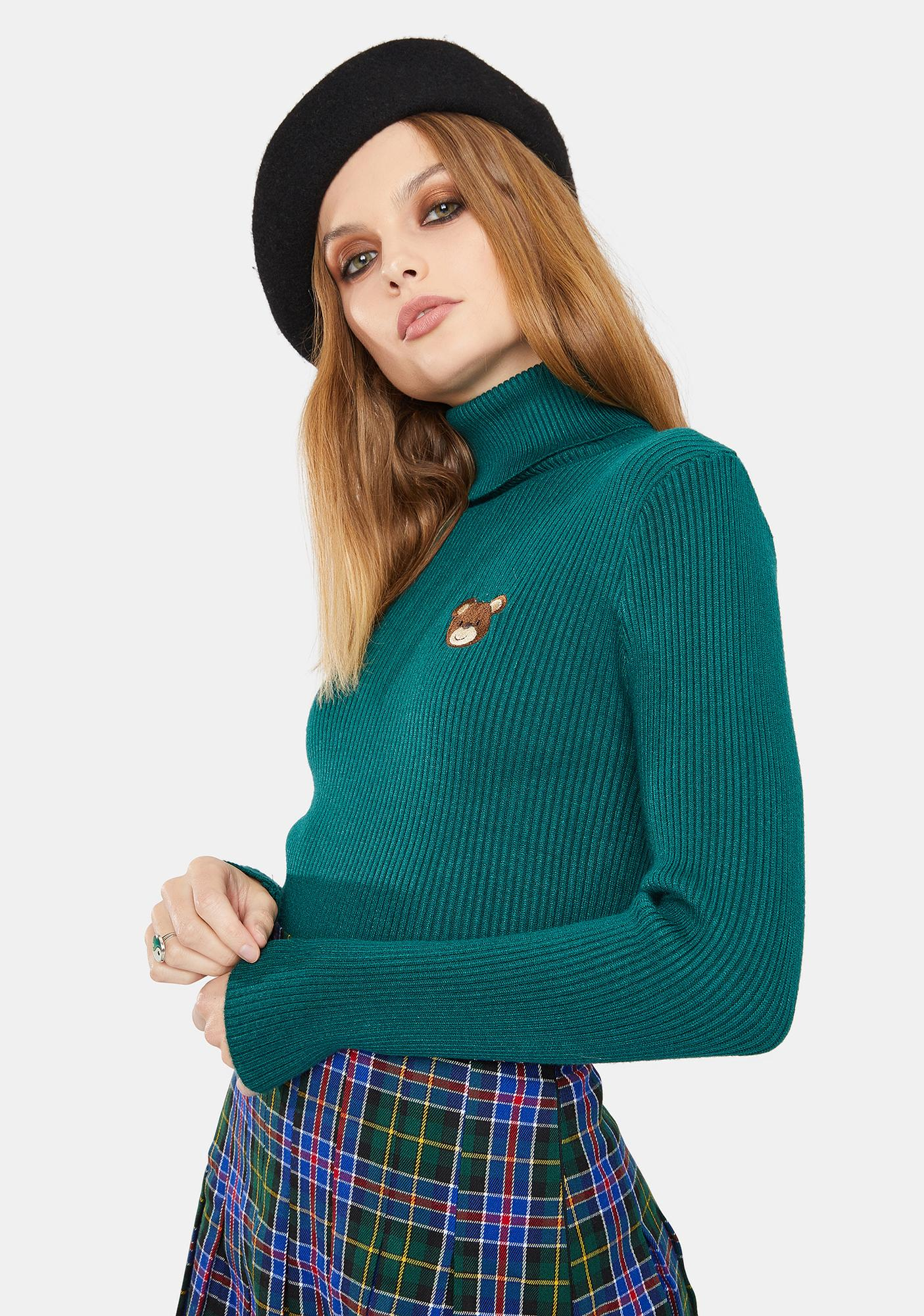 Minga Teddy Bear High Neck Knitted Top