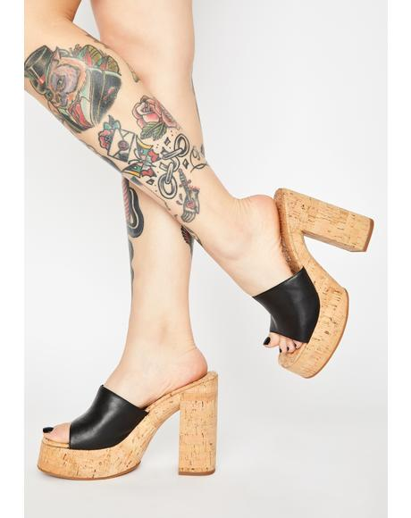 Black Cashew Block Heels