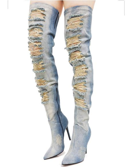 Matheson Denim Thigh-High Boots