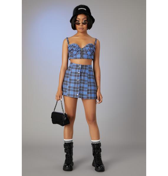 Poster Grl Got A Clue Plaid Skirt Set