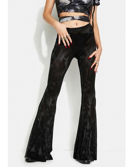 Black Gothic Dark Fringe Flared Trousers