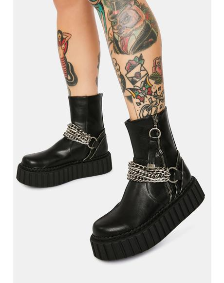 Metal Madness Chunky Platform Ankle Boots